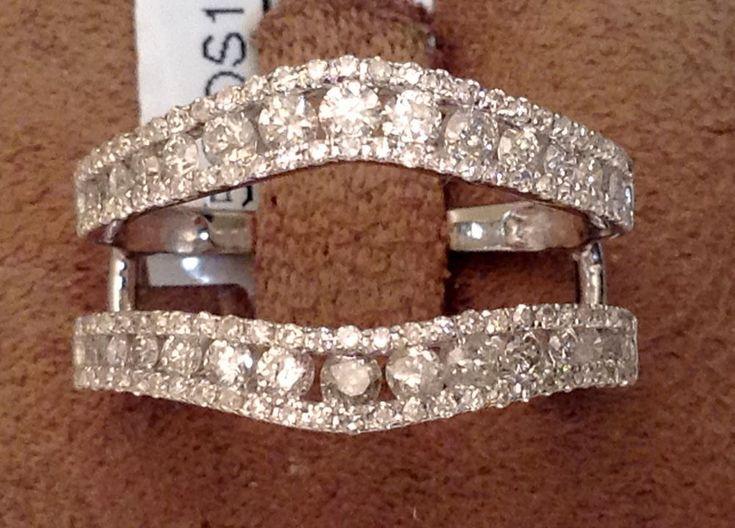 Solitaire Enhancer Round 1.00ct Diamonds Ring Guard Wrap 14k White Gold Jacket #WithDiamonds