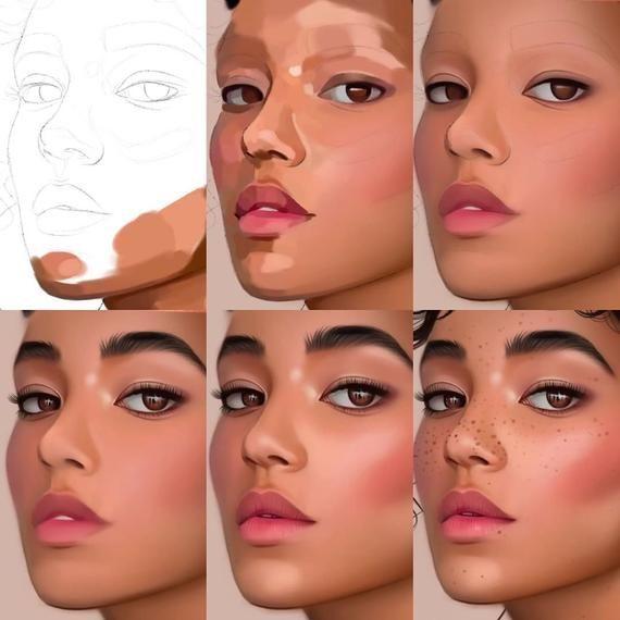 Personal Digital Drawing, Custom Silhouette Portrait, Watercolor Art, Watercolou…