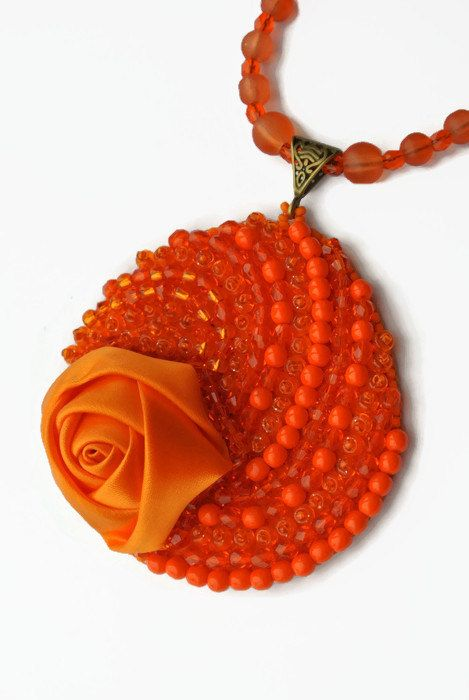 OOAK Orange pendant, Large Necklace, Bright Pendant, Beadwork, Orange Beadwork, Gothic jewelry