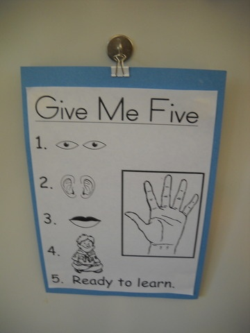 "This is a poster that reminds kids to be paying attention with their entire body. So when the teacher says, ""Give me one"", the class raises a one which corresponds with eyes. I like this a lot more than ""look and listen"" because it includes all of the body. 0642"