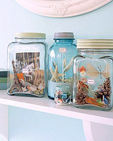 Put your souvenirs inside of a bottle to decorate you house... One glass for each place. That's cool!