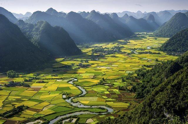 Foto aérea del Valle Bac Son, Vietnam