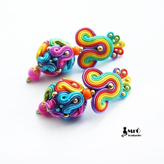 Hey, I found this really awesome Etsy listing at https://www.etsy.com/listing/209735417/rainbow-balls-soutache-colorful-earrings