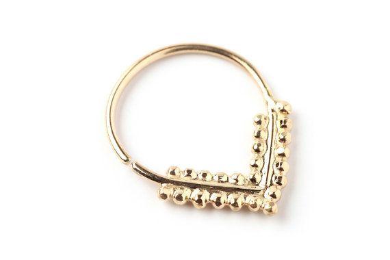 anneau de septum  en forme de goutte  septum d'or par studiolil, $102.00