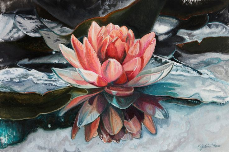 """Saatchi Online Artist: Kathryn Gabinet-Kroo; Oil, 2011, Painting """"Coral Lily and Reflection"""""""