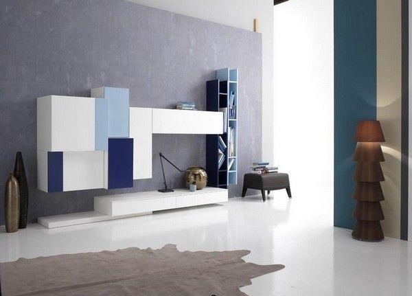 Tetris soggiorno moderno blu 3 big Vivid Bookshelf Collection Displaying an Impeccable Design: Tetris