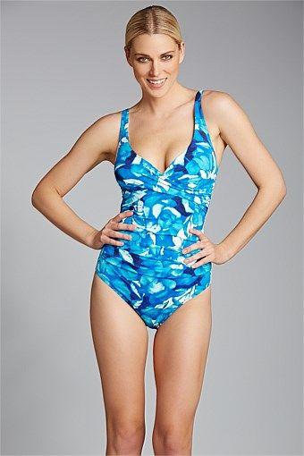 Women's Swimwear - Quayside Secret Support Wrap Bodice Swimsuit - EziBuy Australia $99