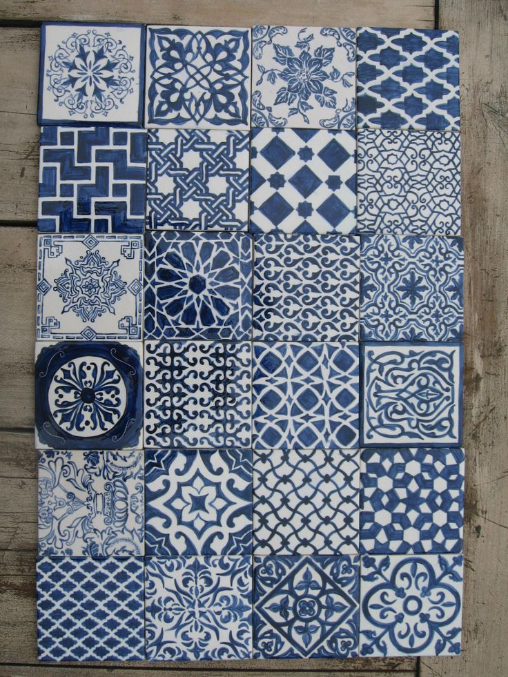 Handpainted Morrocan Tile Splashback Set of 24 by Terethsheba