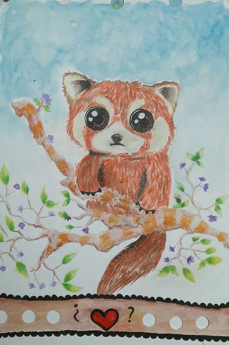 Ilustración: panda rojo acuarela
