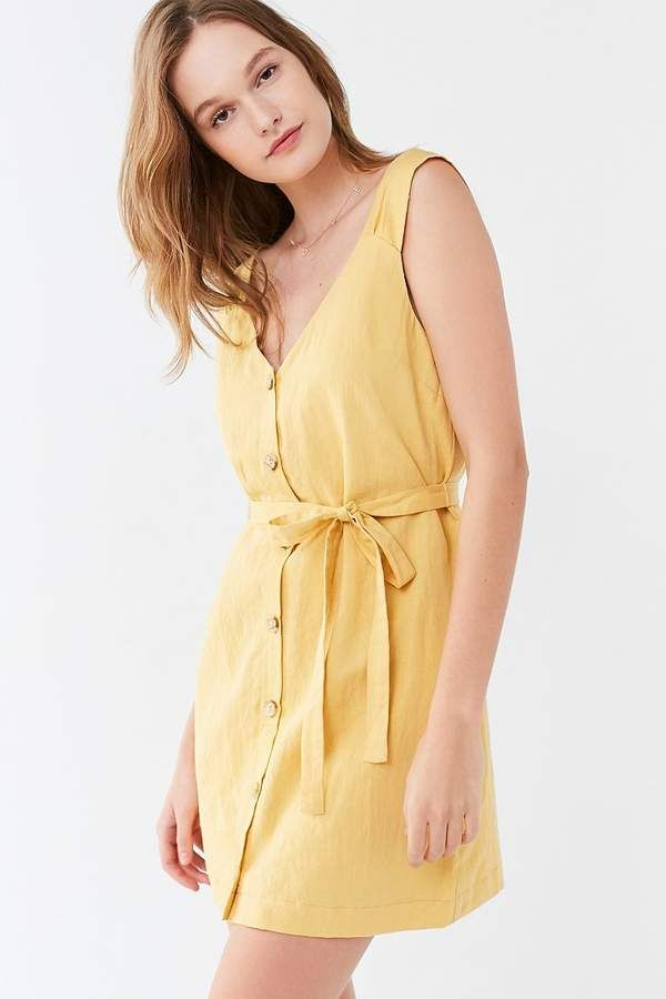 22887f75bf Urban Outfitters UO Button-Front Linen Mini Dress    Spring Dresses ...