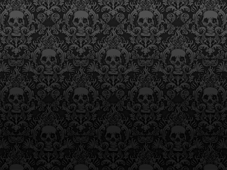 Very dark and nice skull wallpaper and other things i for Black white damask wallpaper mural