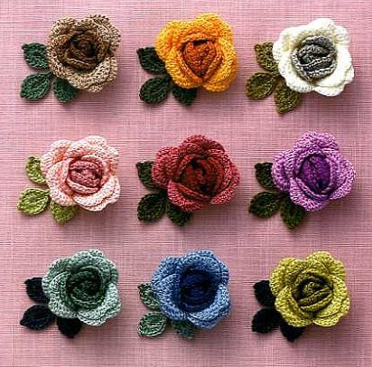 Crocheted roses using embroidery thread from a book published by Applemints