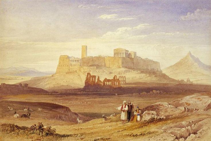 William Purser (1790-1834): Άποψη της Aθήνας με την Aκρόπολη και το Ωδείο Hρώδου του Aττικού, γύρω στα 1820. Yδατογραφία, Δωρεά Sir Steven Runciman