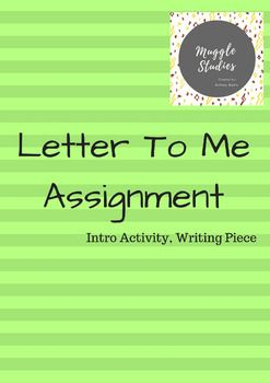 "This is a great intro activity that not only lets you get to know your students, but also provides you with a starting WRITING SAMPLE!This activity includes:-the lyrics to Brad Paisley's ""Letter To Me""-assignment guidelines for when students go to write their own letterPlease leave some feedback if you purchase!"