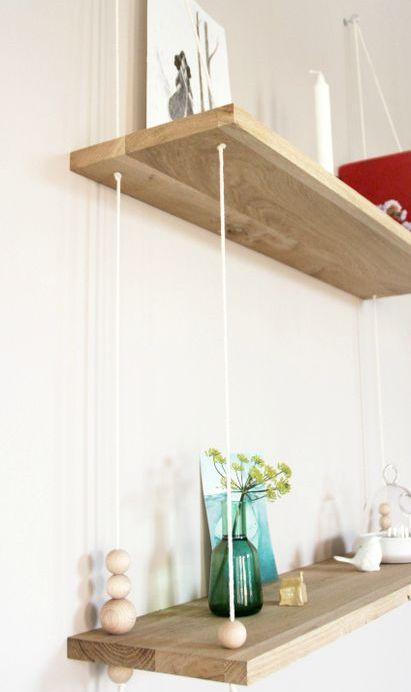 Etagères en bois : chêne, perles & corde