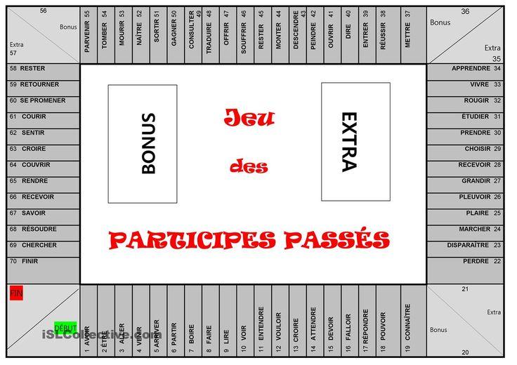 JEU des PARTICIPES PASSÉS | Gratuit FLE worksheets