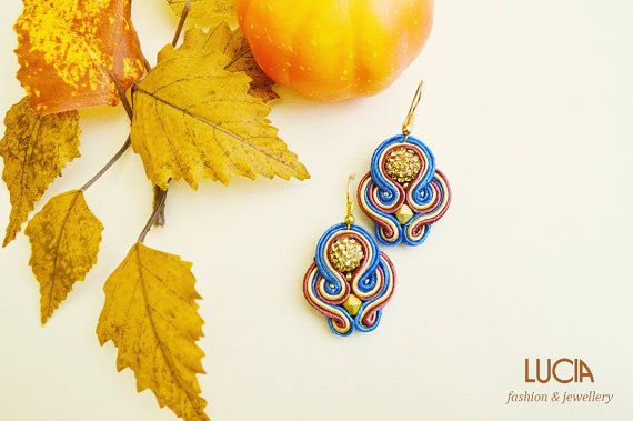 Blue beige and red soutache earrings with shamballa beads