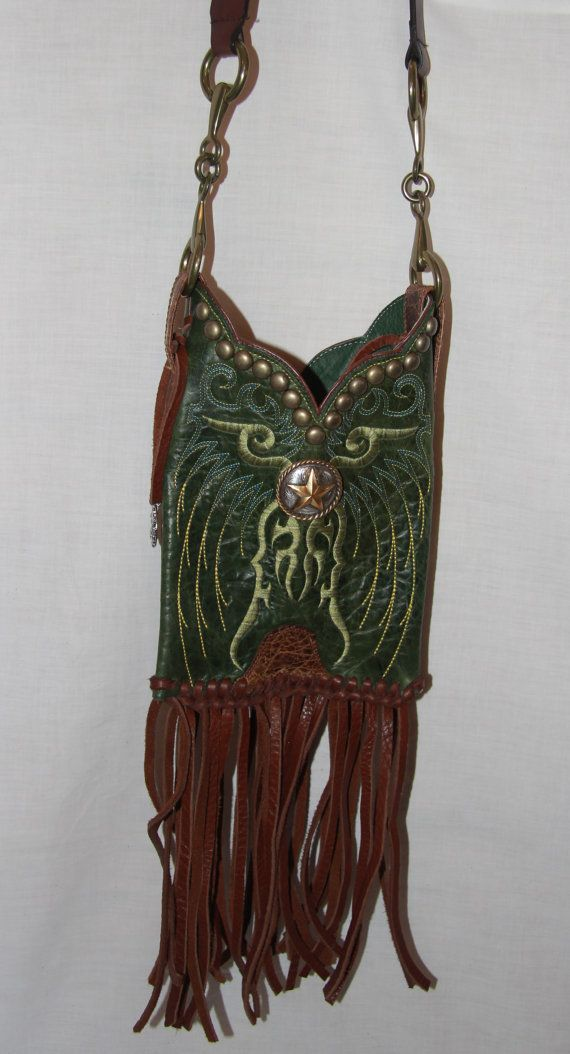 Green ariat repurposed boot purse repurposed purses and Repurposed leather belts