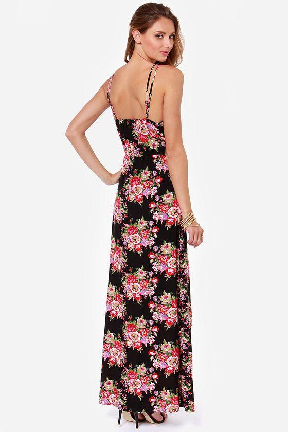 Flower Printed V-Neck Spaghetti Strapped Empire Waistline Floor-Length Sleeveless Dress