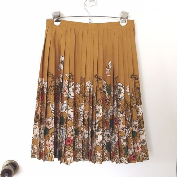 Selling this Modcloth floral retro mustard pleated skirt in my Poshmark closet! My username is: wanderlust83. #shopmycloset #poshmark #fashion #shopping #style #forsale #ModCloth #Dresses