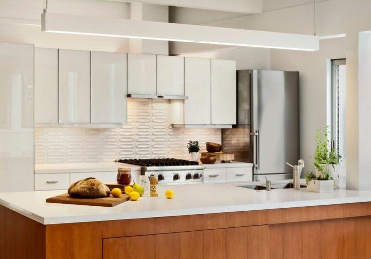plan travail cuisine blanc en Corian et dosseret en relief à 3D