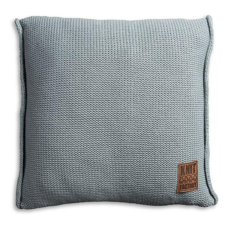 Pillow 50x50 - Uni VZ stone green by Knit Factory www.knitfactory.nl