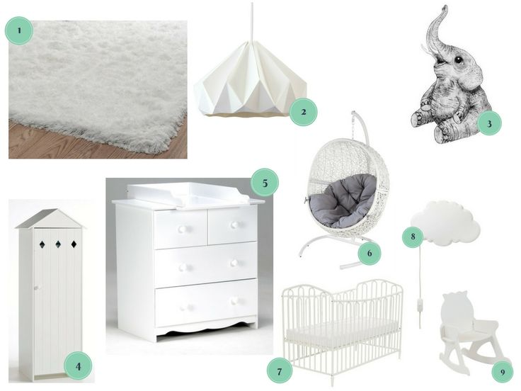 inspiration shopping chambre de bébé blanche unisexe / inspiration for a white nursery