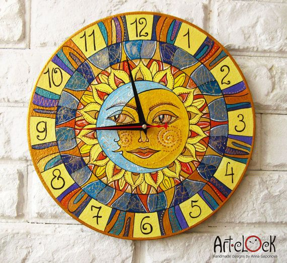 The Sun and Moon Wall Clock Home Decor for Children Baby Kid Boy Girl Nursery Playroom on Etsy, $40.00