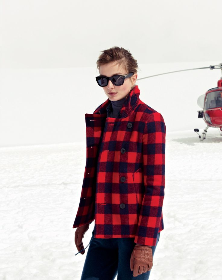 December Style Guide sneak peek. Our Very Personal Stylist team can help you pre-order the buffalo check peacoat and the Collection cashmere sweatpant before they become available on Wednesday 13 November. Call 800 261 7422 or email erica@jcrew.com.:
