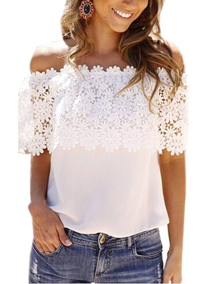 Off Shoulder Chiffon Lace Stitching Blouse