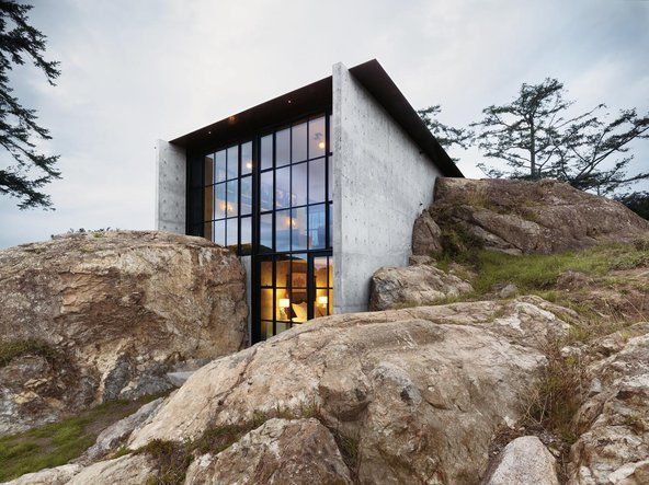 "A stunning house on Lopez Island (WA) by Tom Kundig. I knew the land before the house was ""inserted"" into those boulders. An incredible fete -- not just engineering-- really stunning and cozy! This was one of those unique partnerships between architect and client, Merrill Wright."