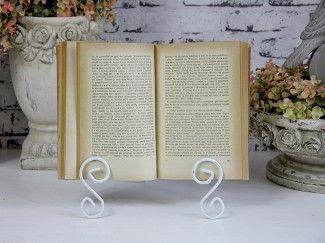 Stojak na książkę metal biały retro