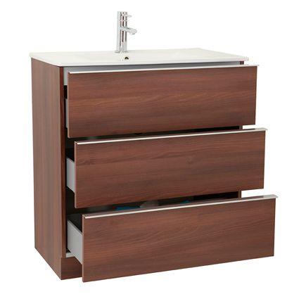 Mueble de baño Discovery de tres cajones, a suelo con zócalo.