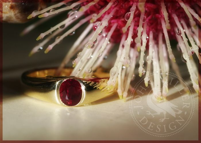 "... The power of the internet! This gorgeous 1.05ct. lab certified Burma Ruby is set in solid 18ct Gold. ""Mandalay Dawn"" was made to order by someone who found us on google, searching for a special 40th wedding anniversary gift. This ring closely resembles the style of ancient Roman and medieval settings"