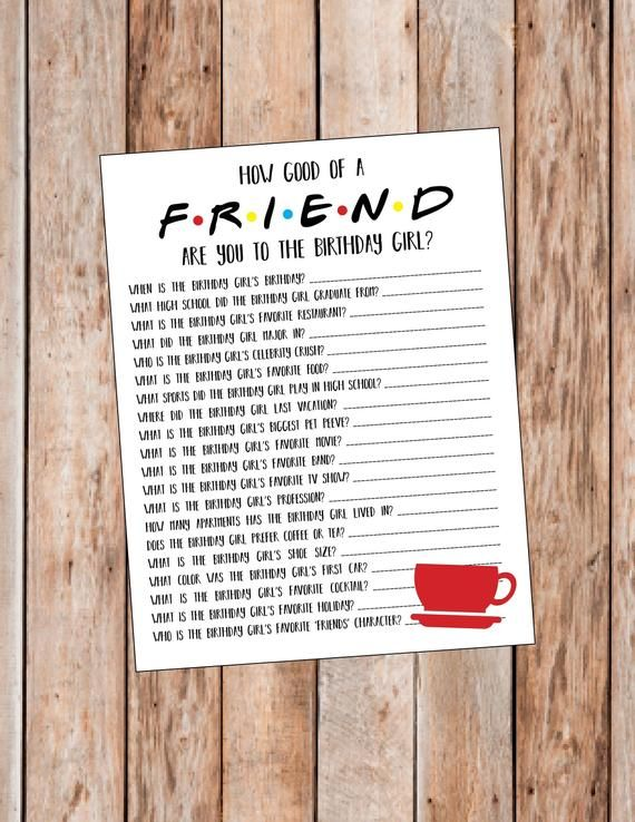 Friends Themed Birthday Friends Birthday Party Game Etsy Dinner Party Games 18th Birthday Party Birthday Party Games