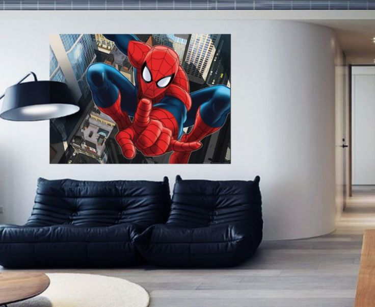 WallandMore Spiderman Wall Decal Mural For Boys Bedroom W By H   Wall Decor    Wall Decal Spiderman   Kids.