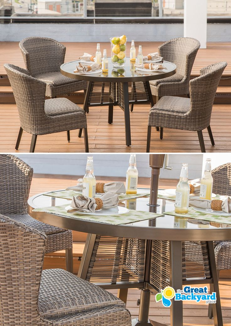 Trendsetting design and longstanding durability do not go unnoticed. Agio, the industry leader in fine outdoor furnishings, gives you new and exciting opportunities to enjoy outdoor living. Using the finest materials designed to give you and your guests years of enjoyment, Agio collections are crafted for you to make the most of your space. 4 Woven Dining Chairs, 1 Slat Top Davenport Table
