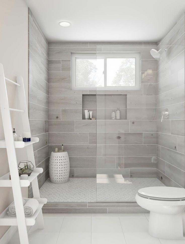 Genießen Sie diese wunderschöne ebenerdige Dusche. Aschgraue Kacheln und eine römische … #…