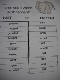 past tense verb sort- take out irregulars to make it better for first grade