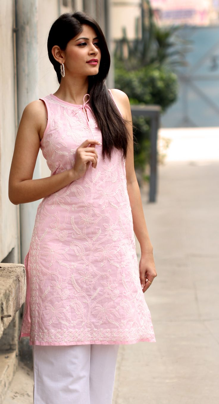 #rose #pink #chikankari #tunic, available at #Fabindia