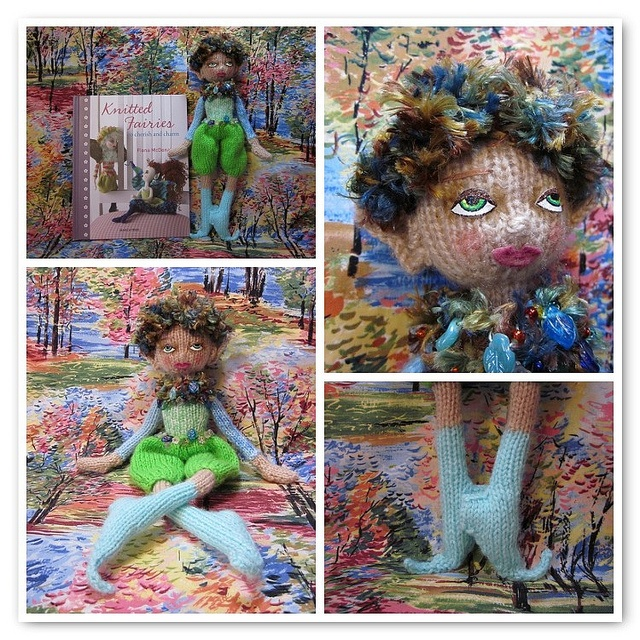 """Twig, a knit doll from the book """"Knitted Fairies,"""" by Fiona McDonald"""