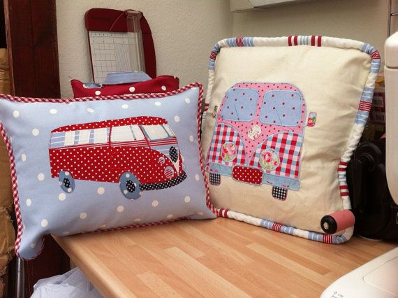 Applique Campervan Cushions by TheCraftzShack on Etsy, £15.00