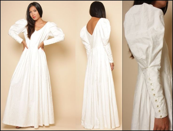 Vtg 80s White Cotton Laura Ashley Victorian Wedding Avant Garde Pouf Maxi Dress