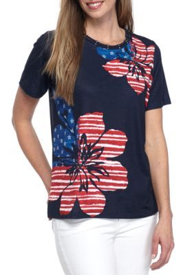 bbe4daf16be Alfred Dunner Navy Petite Lady Liberty Floral Flag Tee