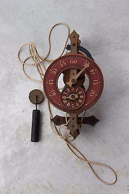 Vintage Old Swiss Buco Wooden Wall Clock Wood Gears