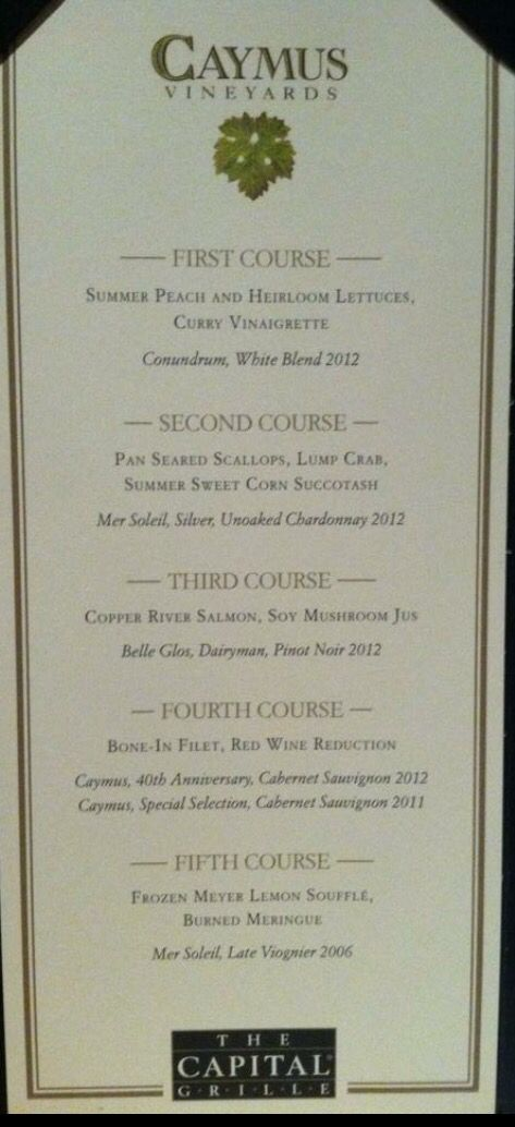 Caymus Wine Tasting at Capital Grille - Spectacular