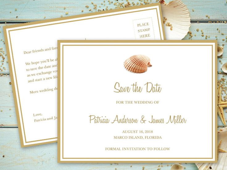 Printable Save The Date Postcard Template Seashell Songs Gold DIY Destination