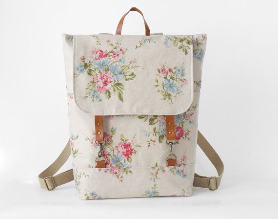 Made with waterproof linen laminate, this floral-print backpack is tougher than she looks. #etsy #etsyfinds #backtoschool
