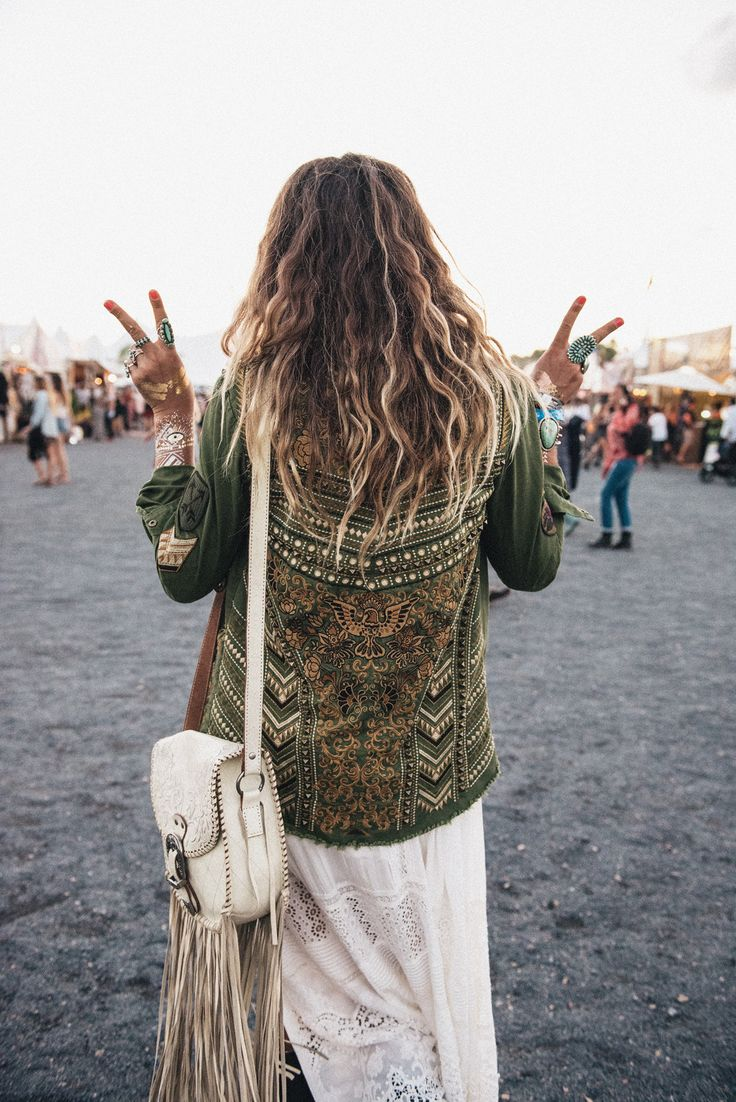 Boho meets military. A heavily embellished army jacket worn by one of the Spell Designs girls. So unique!