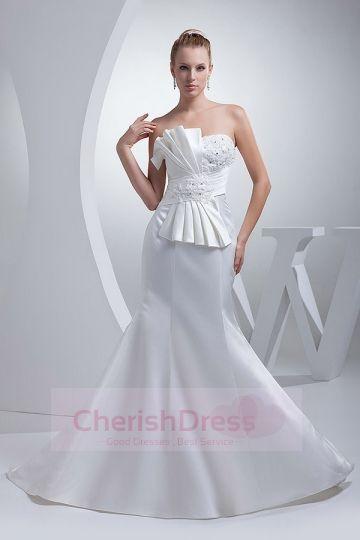 Sweetheart  Appliques Beading Ruching Mermaid/Trumpet Wedding Dress
